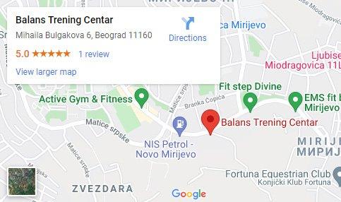 teretana Mirijevo, Balans trening centar mapa